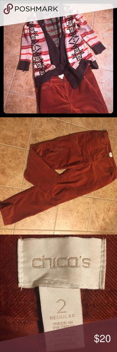"2 piece outfit - Chicos 2 pants & L/XL Sweater Rust colored Chicos cordoury pants - Size 2 (12/14) and an open tribal sweater - size Large (would also fit XL).  ""Re-poshing"" since the colors were not really me.  Included Sweater since it matches the pants perfectly.  Just need a black undershirt & some boots, and you're good to go! Chico's Pants Straight Leg"