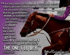 My Brat isn't bred to run, but she sure is the best barrel horse I could have ever asked for. She's got the heart of a champion. =]