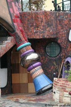I like to sit in the Biergarten under the Hundertwasser tower.