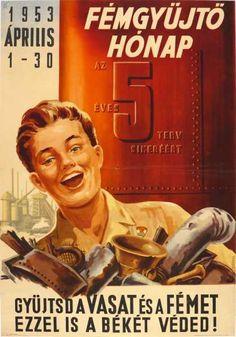Fémgyűjtő hónap az 5 éves terv sikeréért 1953 április szocreál plakát