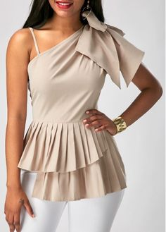 Peplum Waist One Shoulder Sleeveless Blouse on sale only US$28.21 now, buy cheap Peplum Waist One Shoulder Sleeveless Blouse at Rosewe.com