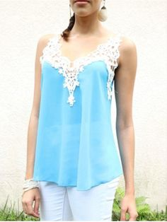 Stylish Lace Spliced Spaghetti Strap Chiffon Tank Top For Women