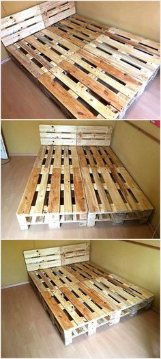 Now I dont think that I have to prepare a case before I go into the details of this certain wood pallet project because every one of us is aware of the importance of the wooden room bed. Just imagine how would it sound to have a room wooden pallet bed w Pallet Bed Frames, Diy Pallet Bed, Wooden Room, Wooden Pallet Projects, Wooden Pallet Furniture, Wooden Pallets, Diy Furniture, Pallet Ideas, Furniture Movers