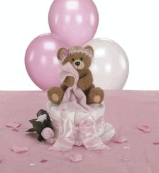 Teddy Bear baby Shower for Girl. Teddy Bear Diaper Cake Centerpiece with Baby Sock & Washcloth Rose Details, Balloon Bouquet and Teddy Bear & Bow Table Sprinkles. Complete Teddy Bear Baby Shower Table Decorations Package!