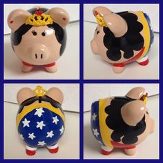 Wonder Woman piggy bank Pebble Painting, Pottery Painting, Diy Painting, Boss Light Year, Painted Pots, Hand Painted, Pig Bank, Personalized Piggy Bank, Toddler Themes