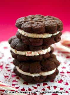 Vegan Chocolate Peppermint Creme Sandwich Cookies