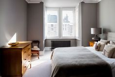 Kyrle Road by Plantation Shutters Ltd Home, House Styles, Contemporary House, Furniture, Lounge, White Shutters, Contemporary, Bay Window Shutters, Home Styles