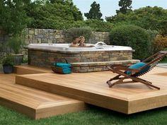 Hot Tub Deck Design Ideas : Backyard Deck Ideas With Hot Tub. Hot Tub Garden, Hot Tub Backyard, Fire Pit Backyard, Deck With Pergola, Backyard Pergola, Whirlpool Deck, Floating Deck, Mini Pool, Building A Deck