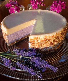 Good Lord, I want this NOW! Raw Desserts, Just Desserts, Delicious Desserts, Dessert Recipes, Yummy Food, Culinary Lavender, Lavender Recipes, How Sweet Eats, Creative Cakes
