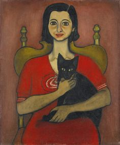 Alice Neel (American, 1900–1984) - Untitled (Woman with cat), 1932 - Oil on canvas