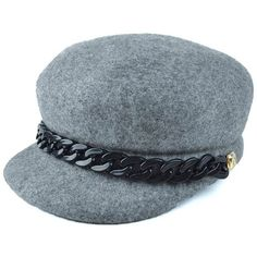 491ec1a1c4c Gray Casual Chunky Chain Embellished Felt Newsboy Hat ( 14) ❤ liked on Polyvore  featuring accessories