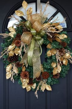 Items similar to Christmas Wreath, Gold and Green Ribbon, Gold Leaves, Icy Branches, Pinecones, Pine on Etsy