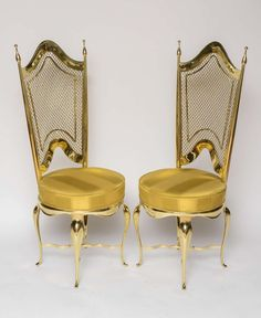 Extremely Unique Brass Accent Chairs | From a unique collection of antique and modern side chairs at http://www.1stdibs.com/furniture/seating/side-chairs/