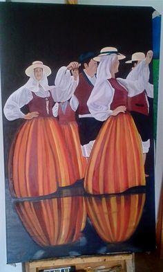 "#""baile de parranda canaria""oil on canvas"""