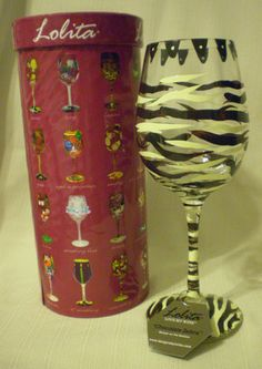 Lolita Chocolate Zebra Wine Glass Goblet New with Tag in Box Collectible | eBay