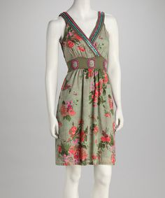Take a look at this Olive & Pink Beaded Surplice Dress by Young Threads on #zulily today!