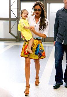 Victoria Beckham wore Carven's multicolor renaissance printed velvet skirt and brown Chloe wedges on June 1, 2013.