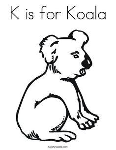K Is For Koala Coloring Page is for koala coloring page twisty noodle more koalas colors colors ...