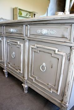 Detailed, French Country Credenza/ Sideboard