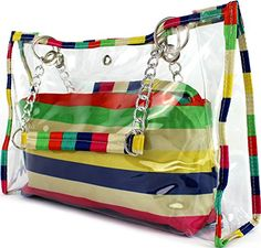 Transparent Eastwest Chain Shoulderbag Flags Stripe Polkadot Handbag Satchel Slings Summer Rainbow starps ** Details can be found by clicking on the image.