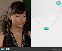 Cece's turquoise necklace on New Girl.  Outfit Details: https://wornontv.net/59803/ #NewGirl