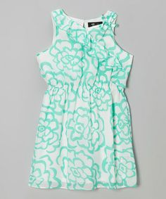 Another great find on #zulily! Mint & White Floral Ruffle Sleeveless Dress - Girls #zulilyfinds