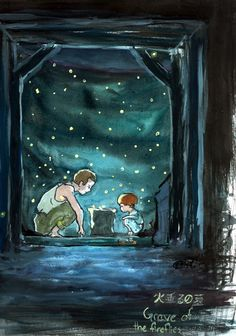Grave of the fireflies / Studio Ghibli Studio Ghibli Art, Studio Ghibli Movies, Hayao Miyazaki, Anime Totoro, Hotaru No Haka, Grave Of The Fireflies, Japanese Animated Movies, Illustrations, Watercolor Illustration