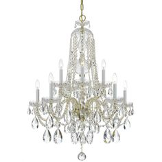 Crystorama 1110-PB-CL-S Traditional Crystal 10 Light Chandelier, Polished Brass