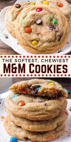 Fun Easy Recipes, Easy Cookie Recipes, Baking Recipes, Dessert Recipes, Desserts, Homemade M&m Cookie Recipe, Easy Homemade Cookies, Cookie Ideas, M M Cookies
