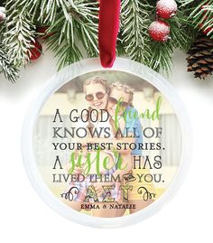 Sorority Sisters Ornament, Sorority Christmas Gift, Alpha Sigma Tau, Personalized Photo Ornament, Customize with your photo // C-P46-OR XX9