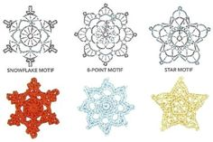 Noel Crochet Snowflakes / Motifs with pattern charts