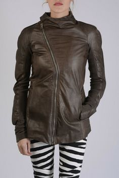 31a42c00769 RICK OWENS New Woman DNA DUST Brown Soft Leather Biker Jacket Size 42 ita   1702  fashion  clothing  shoes  accessories  womensclothing   coatsjacketsvests ...