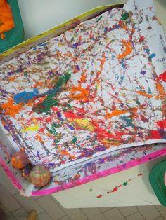 Pittura con palline imbevute di colore