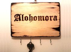 Harry Potter Alohomora Spell Key Rack, Key Hanger, Key Hook, Key Holder Custom Wood Gift for Harry Potter Fan, Harry Potter Decoration Ideas
