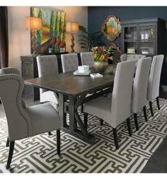 Our dining room table chair and rug