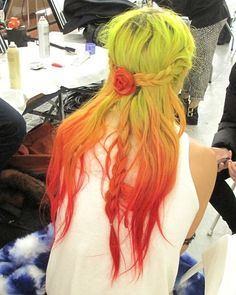 jaimen:  NYFW: Rodarte (Hair) /// a quick look at the beautiful braided hair seen at Rodarte. i had a chance to slip back stage and see the hair, done by odile gilbert and assisted by my very own sister, b brill up close. the image above is of chloe norgaard, who walkedexclusivelyfor Rodarte this season. xoxo.