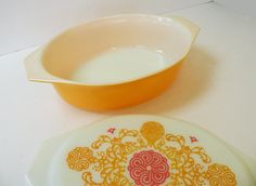 Pyrex Seville Rare Bright Orange and Pink Casserole // 70s Kitchen Serving. $52.00, via Etsy.