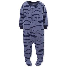 I mustache you a question! Do you want your little one to be cozy at night, then put them in this cute mustache footie pajamas from Carter's