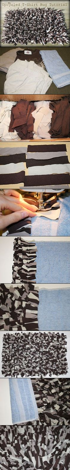 Super easy homemade shag rug - Reuse your old clothes and towels! *Sewing machine needed for this tutorial.
