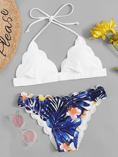 To find out about the Tropical Print Scalloped Bikini Set at SHEIN, part of our latest Bikinis ready to shop online today! Bathing Suits For Teens, Summer Bathing Suits, Cute Bathing Suits, Summer Suits, Floral Bikini, Cute Swimsuits, Cute Bikinis, Bikinis Lindos, Triangle Bikini