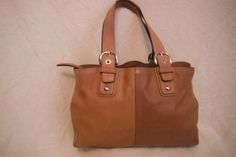 For Sale Now at our Ebay Store for Only $164.99!  COACH Extra Large BURNISHED BROWN & TAN LEATHER Soho Tote Business Bag #13110... Local pickup available also in Worthington, Ohio.
