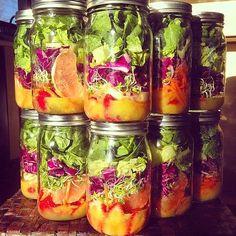Pin for Later: 25 Mason-Jar Salad Recipes to Make Co-Workers Jealous Strawberry-Carrot Salad Mason Jar Lunch, Mason Jar Meals, Meals In A Jar, Mason Jars, Glass Jars, Salad In A Jar, Soup And Salad, Salad Recipes, Healthy Recipes