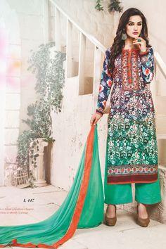 stylish funcional wear pasmina digital print green dress