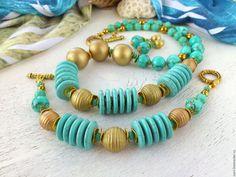 """Купить """"Море и солнце"""" Комплект браслет и серьги из камней Бирюзовый комплект - авторские украшения камни"""