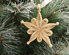 Quilled Snowflake Christmas Tree Ornament Gold by loveinenvelope