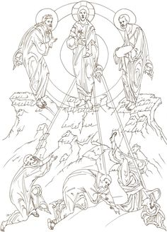 The Transfiguration, Russian Icons, Byzantine Icons, Art Icon, Orthodox Icons, Painting Lessons, Coloring Book Pages, Religious Art, Line Drawing