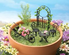 Collectible Miniature Fairy Garden Furniture Set   5 Pc From Collections  Etc.