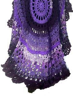 Items similar to Crochet Poncho Purple Explosion Pattern Circular Unbalanced Asymmetric Pullover NOT a Finished Product Is a Digital File on Etsy Thread Crochet, Crochet Shawl, Crochet Hooks, Knit Crochet, Caron Simply Soft, Poncho Shawl, Photo Tutorial, Etsy App, Latest Fashion Trends
