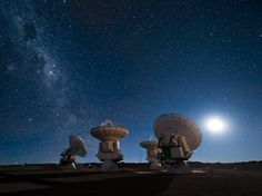 Four of the European Southern Observatory's Atacama Large Millimeter/submillimeter Array (ALMA) antennas gaze up at the night sky. Milky Way is at the left.