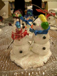 Air dry clay snowmen with glitter!!